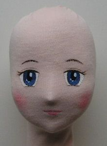 painting doll eyes on cloth   Girl doll Head and face
