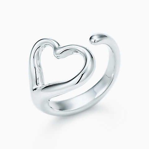 Elsa Peretti® Open Heart ring in sterling silver, medium.
