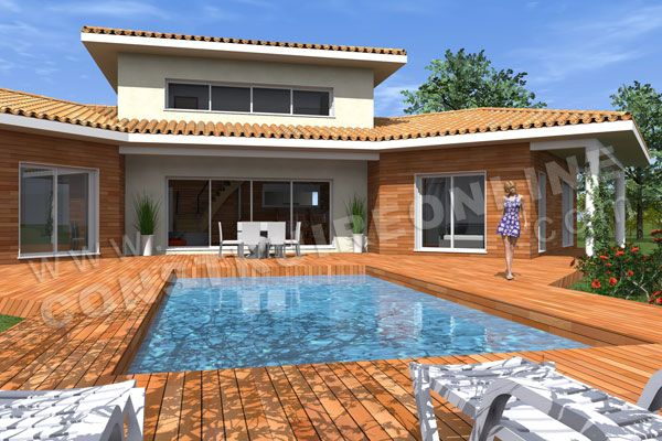 plan maison moderne piscine TRIPODE