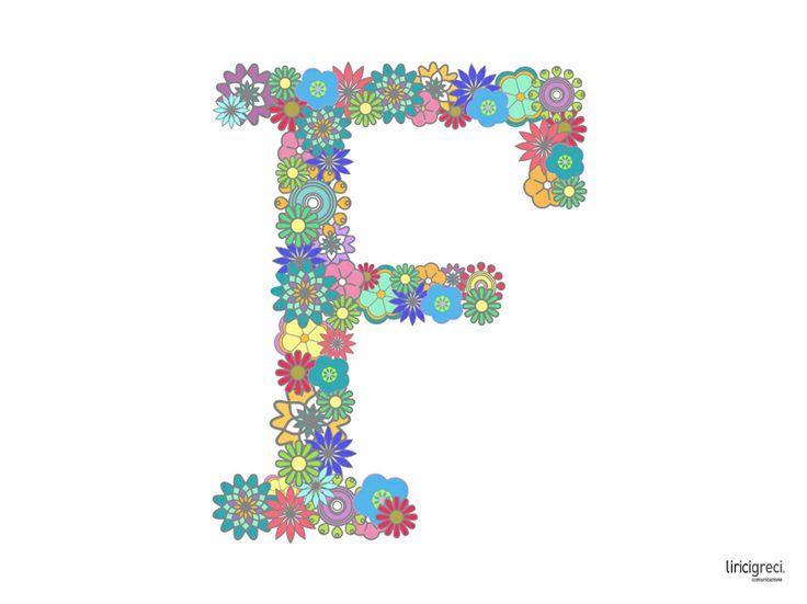#desk Flowery Letters da #LeFormedeiGiorni di #LiriciGreci Lettera F rivestita con motivi floreali e multicolori utilizzando il carattere Rockwell.