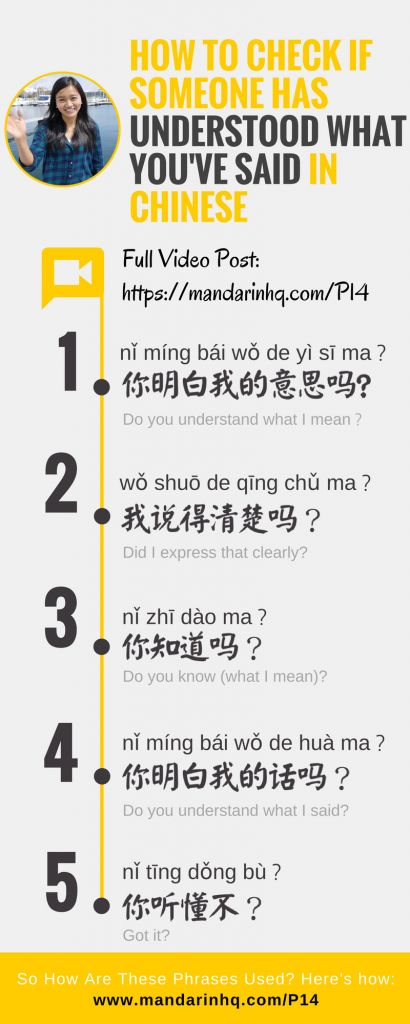 How to check if someone has understood what you've said in Chinese by Mandarin HQ Angel Huang Infographic 1