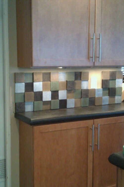 diy kitchen backsplash made from painted scrap lumber 4x4s