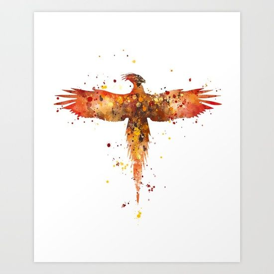#phoenix #harrypotter #abstract #watercolor Collect your choice of gallery quality Giclée, or fine art prints custom trimmed by hand in a variety of sizes with a white border for framing.