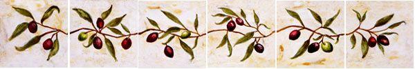 olive branch painted tiles | Olive branch border tiles of black & green olives !