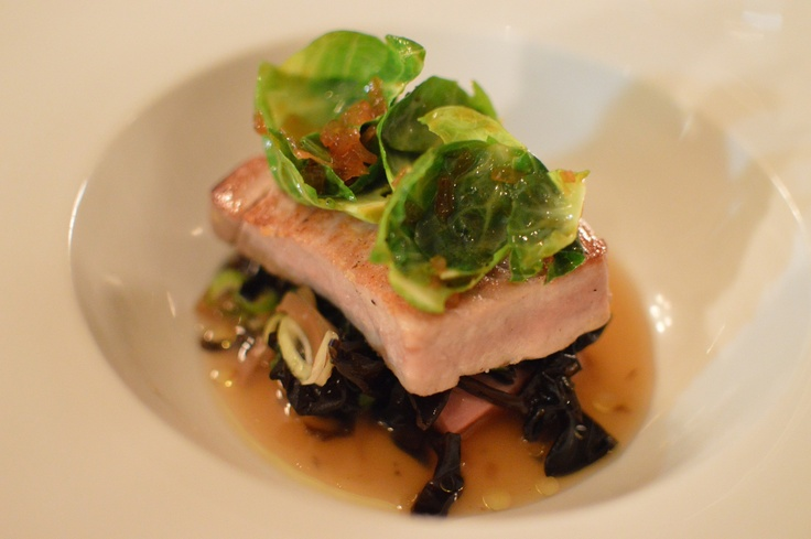 Seared Yellow Fin Tuna w veal tongue, matsutake, wood ear dashi & spiced brussel sprouts tops