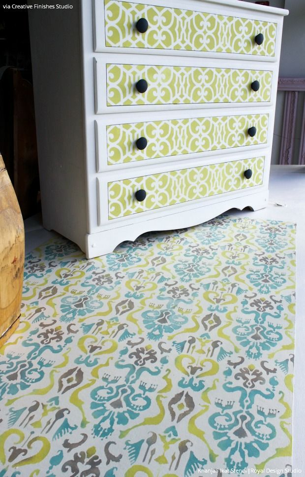 Diy Painted Stencil Bathroom Floor: 314 Best Images About Stenciled & Painted Floors On Pinterest