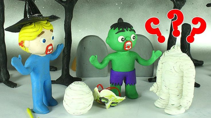Happy halloween cartoons baby hulk Spiderman and Elsa Frozen play doh stop motion cartoons for kids - YouTube