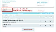 Screenshot einer angeblichen Rechnung über Software per E-Mail. Bild: verbraucherzentrale.nrw/phishing