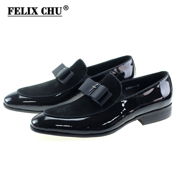 Cheap leather patchwork, Buy Quality leather leather directly from China patchwork leather Suppliers: Handmade Genuine Patent Leather And Nubuck Leather Patchwork With Bow Tie Men Wedding Black Dress Shoes Men's Banquet Loafers