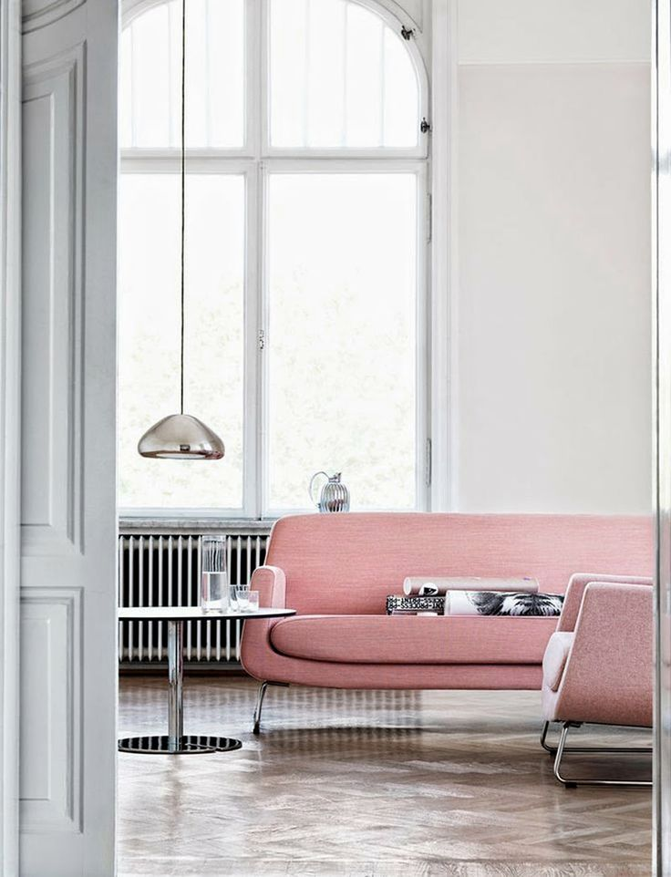 Silver + Grey Room with Pink Sofa | @styleminimalism