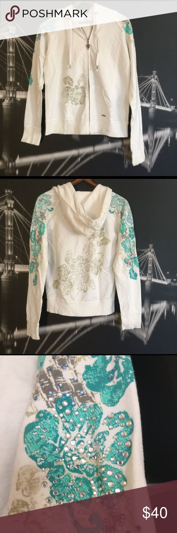 Miss Me, Sequined Zip Up Hoodie White zip up hoodie with turquoise and tan flowers covered in gorgeous sequins and jewels. In great condition. Miss Me Jackets & Coats