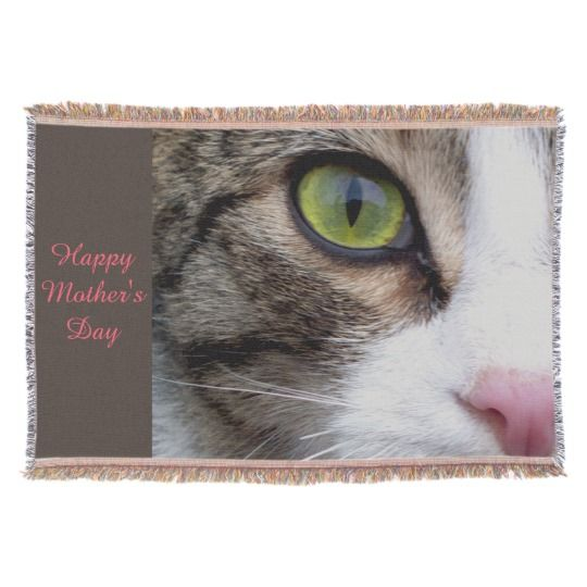 Wild Eyed Cat Throw Blanket - Happy Mother's Day by www.zazzle.com/htgraphicdesigner* #zazzle #gift #giftidea #cat #throw #blanket #happy #mothersday