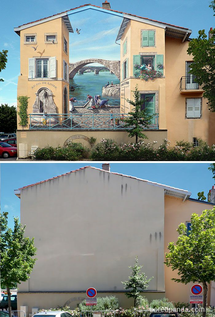 10+ Incredible Before & After Street Art Transformations That'll Make You Say Wow   Bored Panda