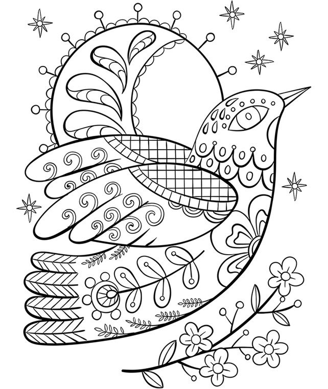 Ornate Dove On Crayola Com Free Coloring Pages Coloring Pages Embroidery Patterns