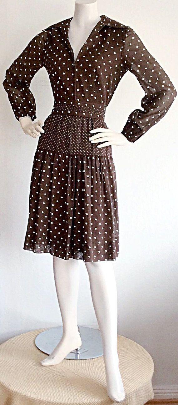 1960s I. Magnin Vintage Brown Polka Dot Dress / by brentedwardvintage