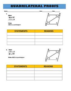 Are your students struggling with all of the properties of parallelograms, rectangles and rhombuses?  These step by step proofs will allow them to see the various properties in action.  Included in this download are 16 simple proofs ranging from 3 steps to 8 steps each.