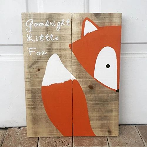 10x14 Goodnight Little Fox Wood Sign, Nursery Decor, Baby Shower Gift or Baby Decor.
