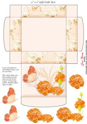 "Gift Cake Box Orange Carnations on Craftsuprint designed by June Young - This gift/cake box is approx. 4"" x 3"" when made up and has floral side panels and a decorated lid. It is very simple to assemble and there is decoupage provided for the flower and butterfly decoration on the lid. - Now available for download!"