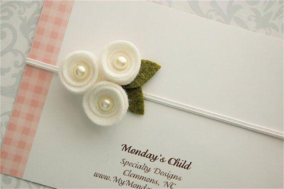 Felt Flower Headband - Felt Flower Baby Headband in White Pearl Posy - Newborn Baby Headbands to Adult