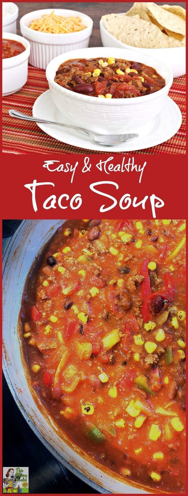 Looking for an Easy & Healthy Taco Soup recipe? This recipe is based on the Weight Watchers taco soup recipe and is even healthier and tastier! This stove top healthy taco soup recipe is easily turned into a slow cooker taco soup recipe, too. Click here t