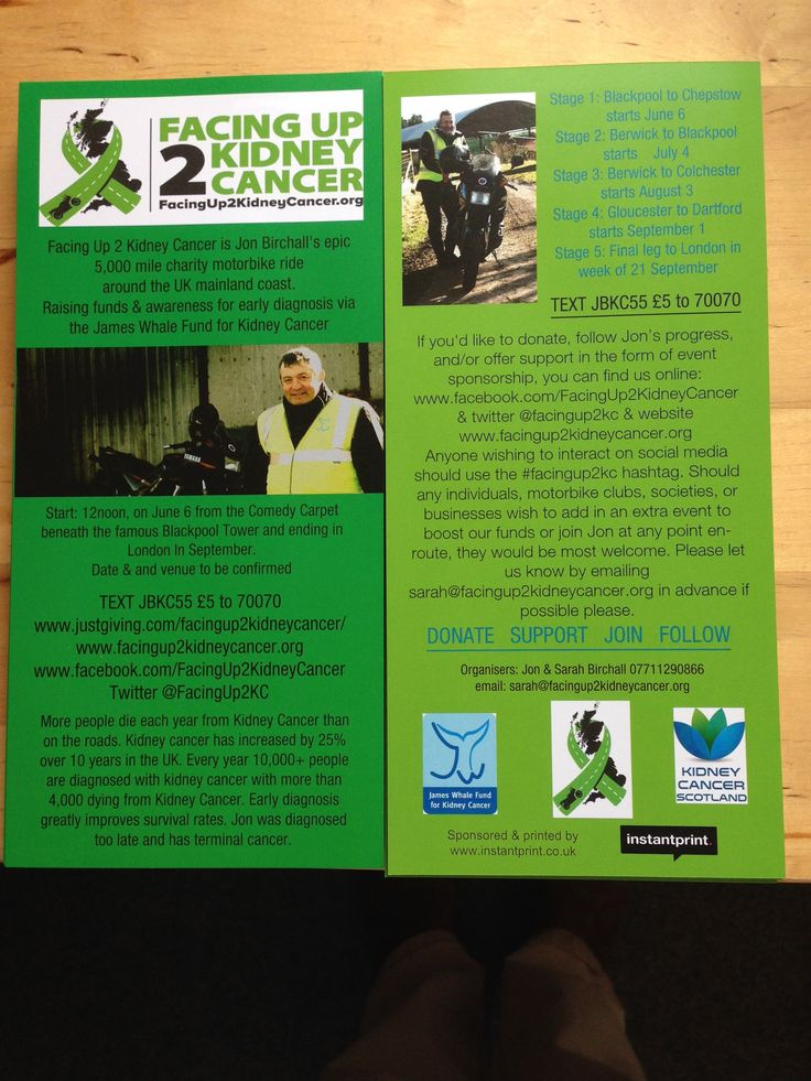 Our leaflet from Instantprint. Find the pdf here http://facingup2kidneycancer.org/press-and-media/ and download for sharing  Help spread the word. #facingup2KC
