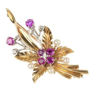 A 9ct gold ruby, seed pearl and diamond brooch.