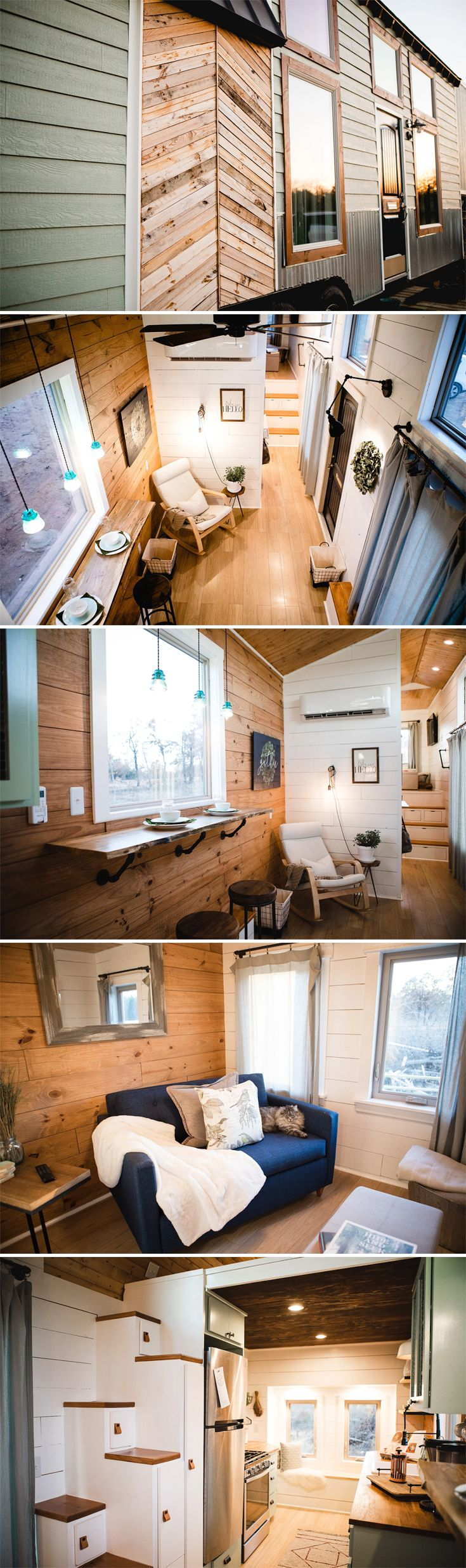"This beautiful 32' gooseneck tiny house is named ""Molly"" and was built by Britni & Justin Portrey at Tiny is Now. Twelve-foot ceilings and a mixture of natural wood and satin white surfaces combine to create a spacious, comfortable living space."