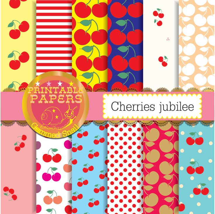 Cherry digital paper, 'cherries jubilee' fruit papers, cherry backgrounds 12 papers by GemmedSnail on Etsy https://www.etsy.com/listing/173221093/cherry-digital-paper-cherries-jubilee