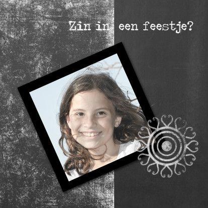 Uitnodiging kinderfeestje hip-IP, verkrijgbaar bij #kaartje2go voor €1,89