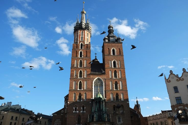 Standstill: St. Mary's Basilica of Krakow Old Town which was completed in 1347 AD. Krakow, Poland