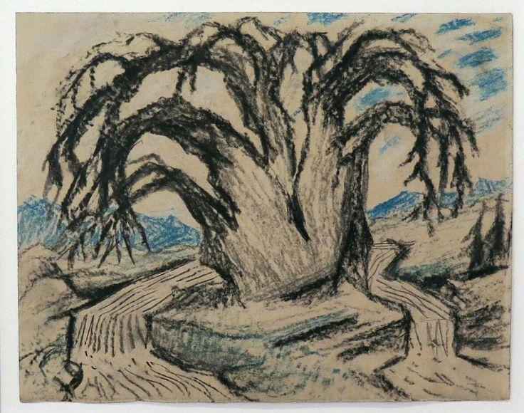 Carl Fredrik Hill (Swedish, 1849 – 1911), Träd med flod, undated, crayon on paper, 17,00 x 21,50 cm