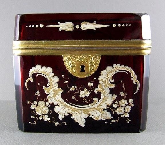 Antique Bohemian Enamel Painted Ruby Glass Hinged Jewelry Casket Box