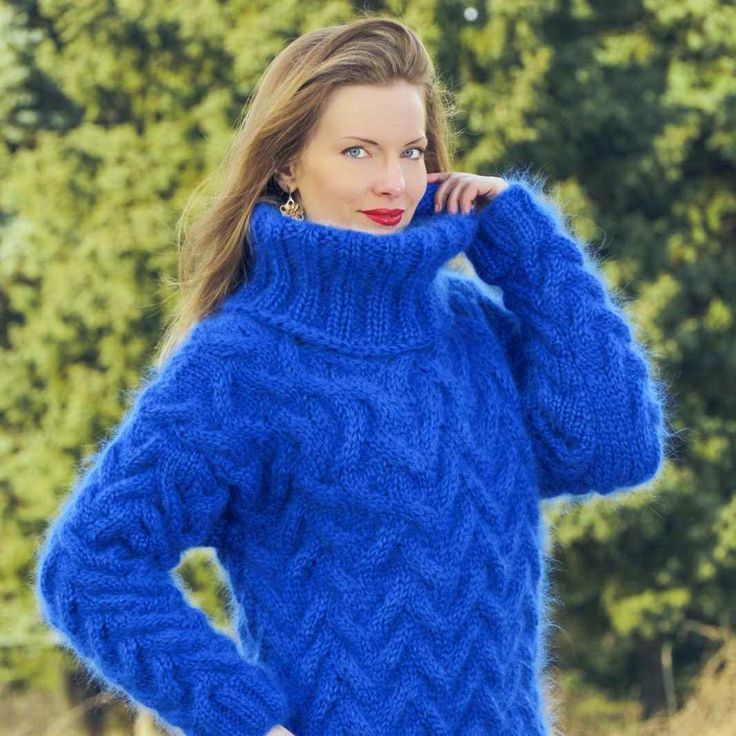 Thick cable knit winter mohair sweater, size S, M, L, XL