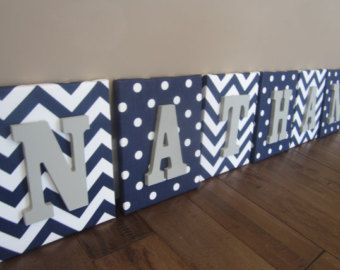 Wall Canvas Letters, Nursery Decor, Nursery Letters, Wooden Letters, Personalized, Nursery Art, Navy Blue, Grey and White Chevron