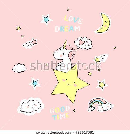 Vector illustration of cute unicorns. Dreaming unicorn on rose background  @knyshksenya #illustration #illustrator #ksenyaknysh #unikorn # postcard #nature #illustration #art #baby #mothersday #valentine #birthday