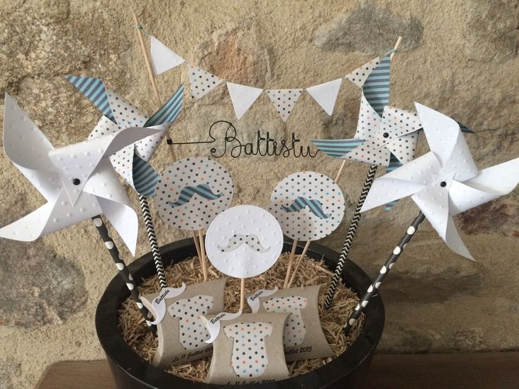 CAKE TOPPERS DECORATION PRENOM MOULIN A VENT MOUSTACHE ANNIVERSAIRE BAPTEME MARIAGE : Décoration pour enfants par plume-de-fee