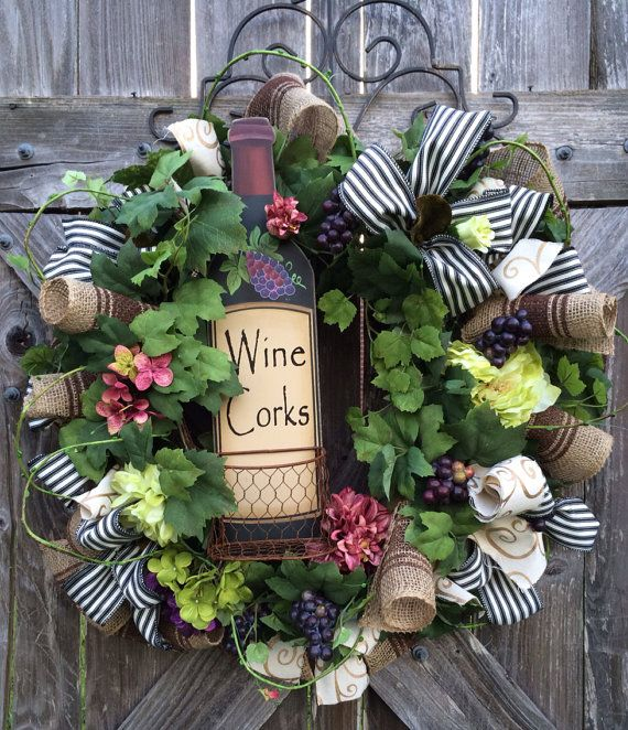 Everyday Wreath, All Season Wreath, Wine Decor, Vineyard, Wine Corks on Etsy, $129.00