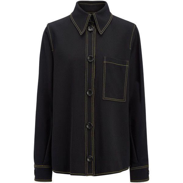 Joseph Viscose Cady Blaise Jacket (¥69,890) ❤ liked on Polyvore featuring outerwear, jackets, black, cinch jackets, joseph jacket, blouson jacket and longline jacket