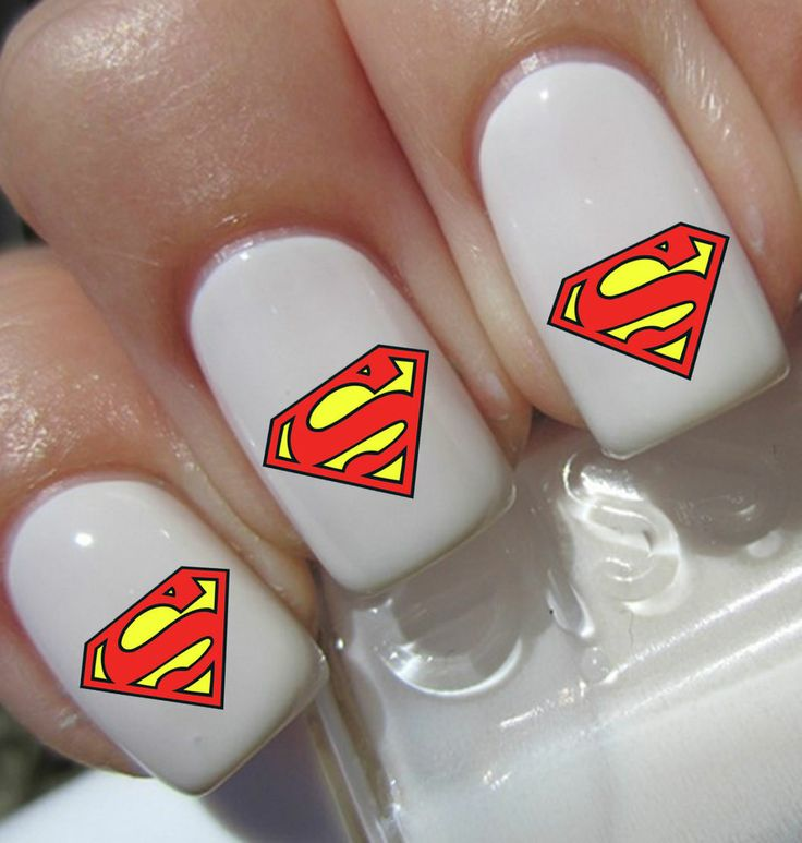 40 Superman Nail Art Decals Wraps Stickers Water Transfer False Nails