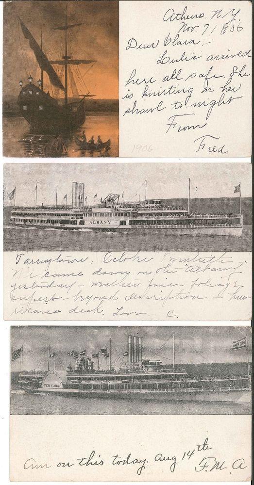 Hudson River Day Line Postcards Robert Fulton Albany Hendrick Hudson 1905