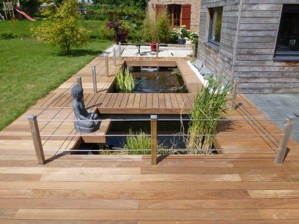 12 best bassin images on Pinterest Backyard ideas, Ponds and - terrasse bois avec bassin