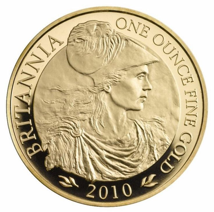 The 2010 1oz Gold Britannia with a face value of £100.  The coin depicts the famous icon of Britain and British coinage as an Amazonian-like warrior, with a protective and serene watch over modern Britain's liberty and values.