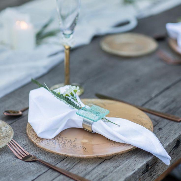 Green napkin holder, set of 6