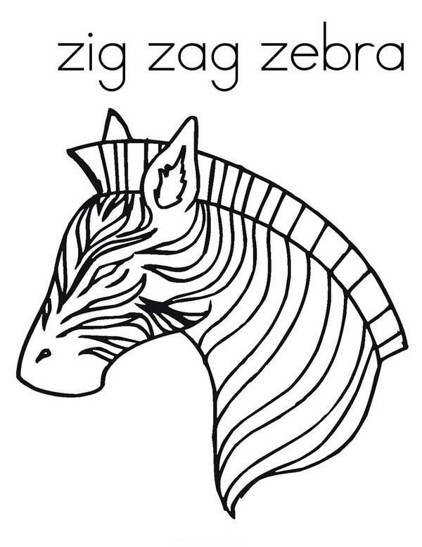 Zebra Awesome Zig Zag Zebra Coloring Page