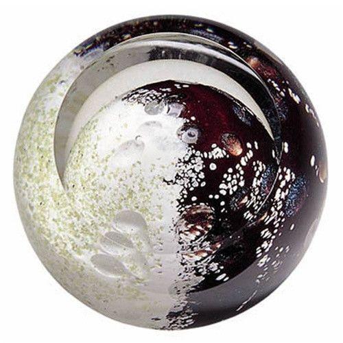Mercury Gemini Virgo White Black Planet Hand Blown Glass Paperweight 3H