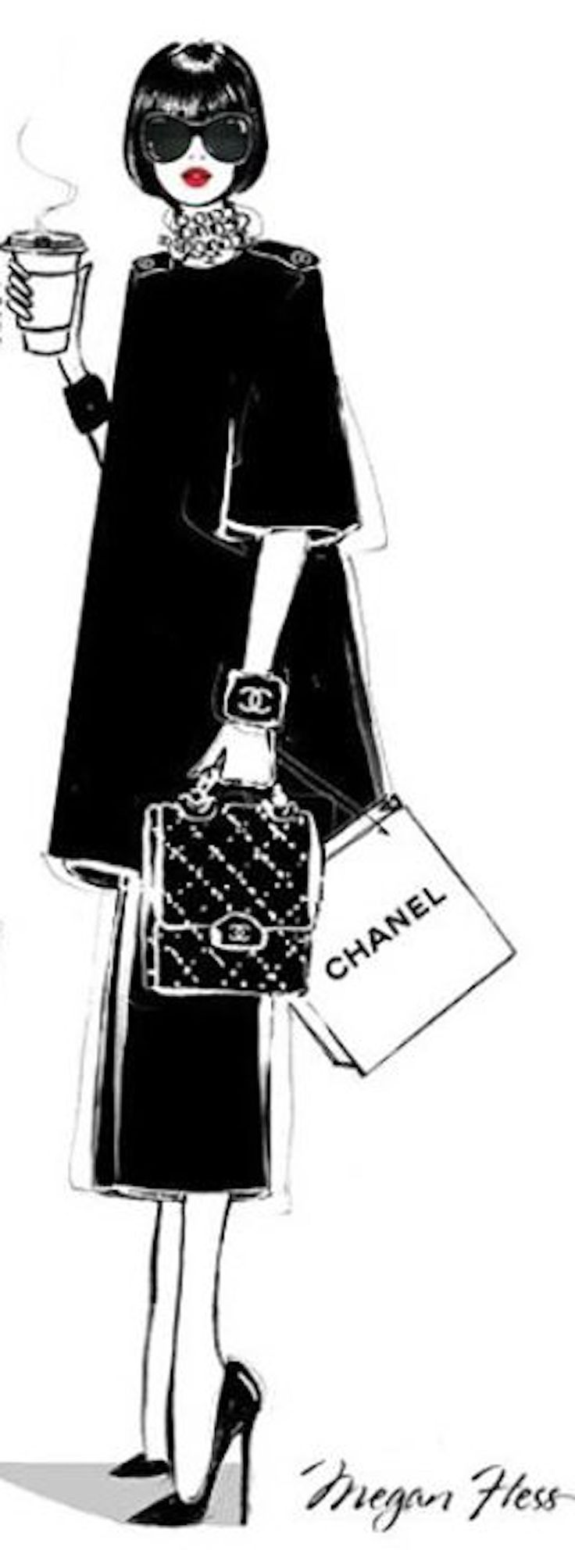 Fashion Sketch figurín de moda #Chanel Style ~ Living a Beautiful Life ~ Megan Hess illustrations art-artwork-fashion- Más