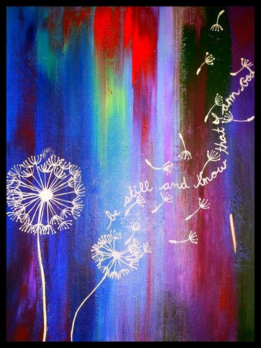 Multicolored Acrylic Dandelion Painting