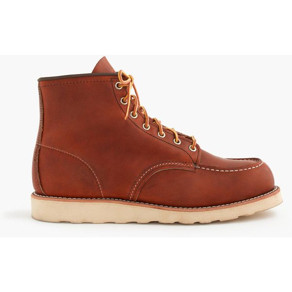 "J.Crew Red Wing 6"" Moc-Toe 875 Boots ($280) ❤ liked on Polyvore featuring men's fashion, men's shoes, men's boots, mens fur lined boots, j crew mens shoes, mens leather shoes, j crew mens boots and mens leather boots"
