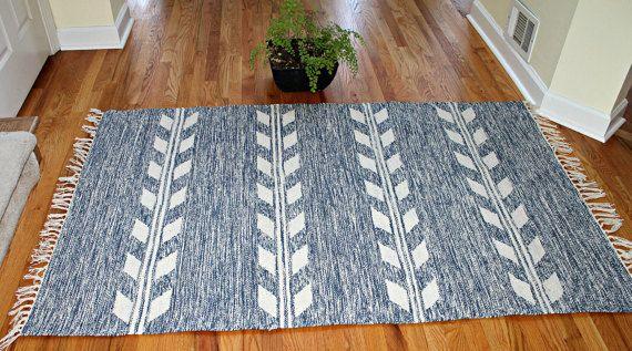 Vintage Rug, Machine Wash, 4x6 ft, Blue Off-White, Tree of Life Handwoven Dhurrie Rug Flatweave Tapestry Reversible New Old Stock OOAK