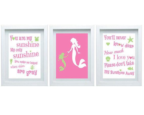 Mermaid Nursery Decor You Are My Sunshine by FMDesignStudio, $35.00